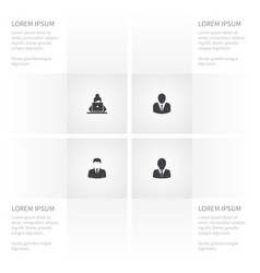 icon leader set of girl person president and vector image