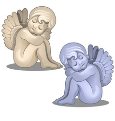 sculpture angel baby serene figurine isolated vector image vector image