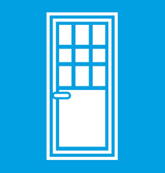 wooden door with glass icon white vector image