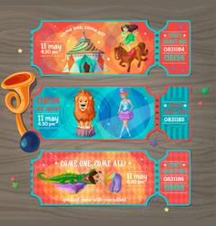 cartoon circus show invitation tickets set vector image vector image