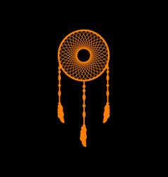 dream catcher sign orange icon on black vector image