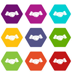 handshake icon set color hexahedron vector image