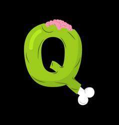 letter q zombie font monster alphabet bones and vector image vector image