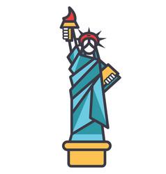 liberty statue new york flat line vector image vector image