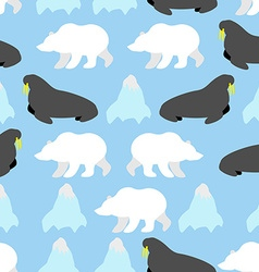 Walrus and polar bear seamless pattern Background vector image vector image