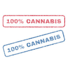 100 percent cannabis textile stamps vector image