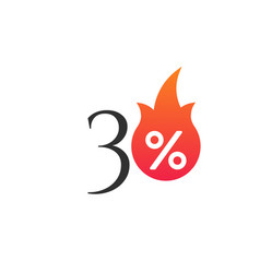 30 percent off with flame burning sticker vector image