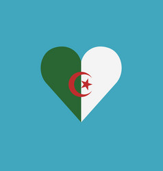 algeria flag icon in a heart shape in flat design vector image