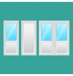 Aluminium doors set interior connecting door vector