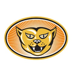 Angry Cat Head Front Retro vector
