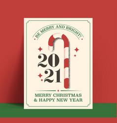 be merry and bright minimalistic vintage styled vector image