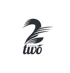 Black and white number two logo formed by abstract vector