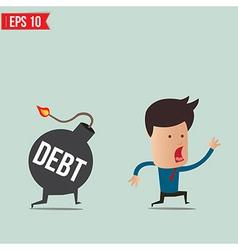 Businessman run away from debt bomb vector