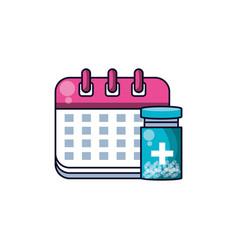 Calendar reminder with bottle medicine vector