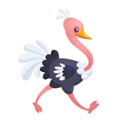 cartoon cute ostrich vector image vector image