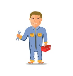 Cartoon Mechanic Car repairman Character vector
