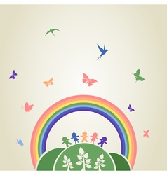 Children rainbow vector image