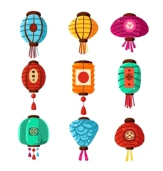Chineese Lanters Decoration Set vector