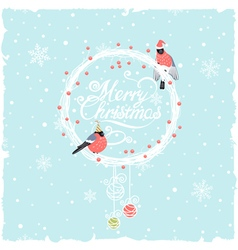 Christmas background with funny bullfinches vector