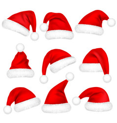 Christmas santa claus hats with fur set new year vector