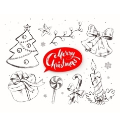 Christmas set with festive objects vector