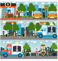 City street park embankment flat vector