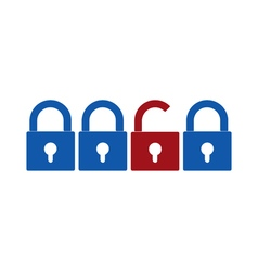 Closed and opened locks icons vector image