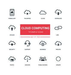 Cloud computing - flat design style icons set vector
