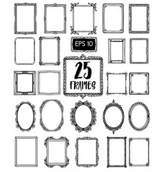 collection 25 of beautiful hand draw frames vector image