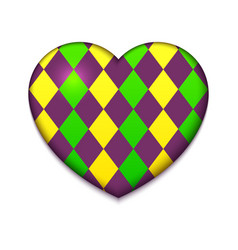 Colorful heart mardi gras vector