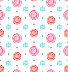 Colorful Seamless Pattern with Lollipops Swirl vector image