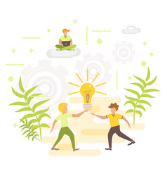 concept creative idea and innovation with people vector image
