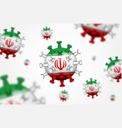 Covid-19 3d floating corona virus with iran flag vector