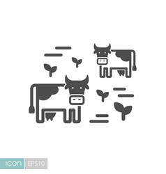 Cow on a pasture icon vector