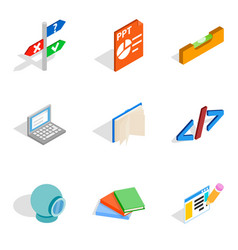 Creative specialty icons set isometric style vector