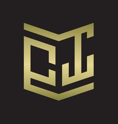 ct logo emblem monogram with shield style design vector image