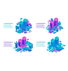 customer retention banner set isometric style vector image
