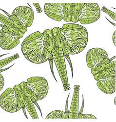 Cute elephants seamless pattern background vector