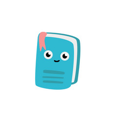 cute notebook cartoon character with bookmark vector image