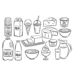 dairy product icons vector image