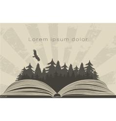 Dark forest in open book vector