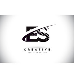 Es e s letter logo design with swoosh and black vector