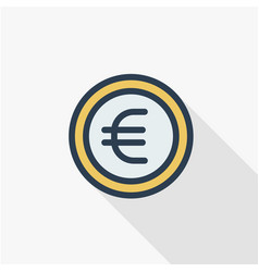 Euro coin currency thin line flat color icon vector