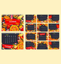 fast food calendar template with snack and drink vector image