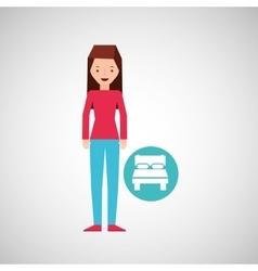 Girl cartoon traveler and bed hotel design vector