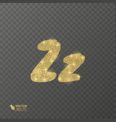 golden shiny letter z on a transparent background vector image