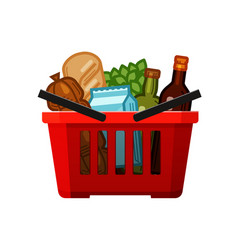 Grocery shopping basket store food and drinks vector