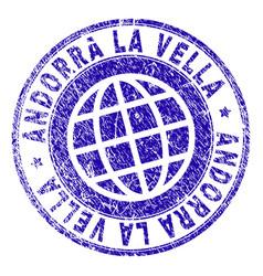 grunge textured andorra la vella stamp seal vector image