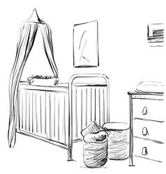 Hand drawn children room furniture sketch baby vector