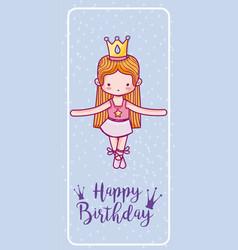Happy birthday with cute ballet dancer card vector